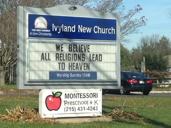 Jesus does not agree with this church marquee . . .